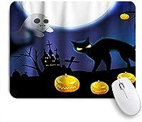 HASENCIV ゲーミング マウスパッド,ハロウィーンホラーナイトキャッスルゴーストキャットパンプキンテーマ,マウスパッド レーザー&光学マウス対応 マウスパッド おしゃれ ゲームおよびオフィス用 滑り止め 防水 PC ラップトップ