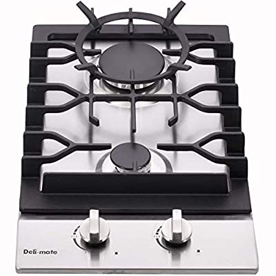 """12"""" Gas Cooktop Dual Fuel 2 Sealed Burners Stainless Steel Drop-In Gas Stove DM223-SA01BZ Gas Hob"""