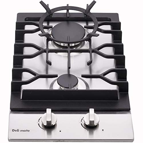 12' Gas Cooktop Dual Fuel 2 Sealed Burners Stainless Steel Drop-In Gas Stove DM223-SA01BZ Gas Hob