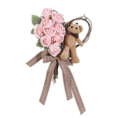 Corona de rosas artificiales para el día de San Valentín con luz para puerta delantera, regalos para el hogar para novias, mujeres y madres