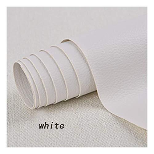 Slijtvast PVC-kunstleer, zelfklevende lederfolie, lederlook, folie, decoratiefolie, meubelfolie, behang, doe-het-zelf, kunstleer, reparatie van meubels, keukenkasten, wandbank, leer, wit, 1,37 × 0