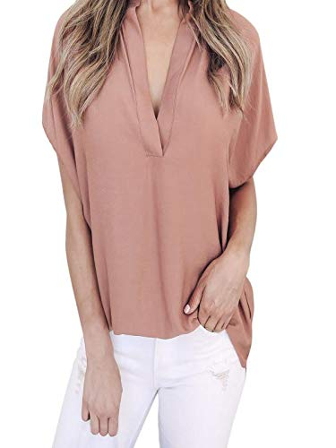 Daoope Camicia Donna Elegante,Donne Estate Chiffon Manica Corta Camicia Casual Top Camicetta T-Shirt