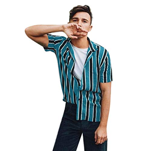 Check Out This Giulot Men's Classic Striped Button Down Hawaii Shirt Hipster Relaxed-Fit 100% Cotton...