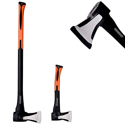 Monzana Deuba Axt + Beil 2er Set | ergonomischer Handgriff | Gummischutz - Universal Spaltaxt Spaltbeil Spalthammer Holzspalter