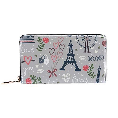 XCNGG Cartera con cremallera para mujer y embrague para teléfono, bolso de viaje, bolso de mano de cuero, tarjetero, organizador, muñequeras, carteras, rueda de observación e iconos de la torre Eiffel