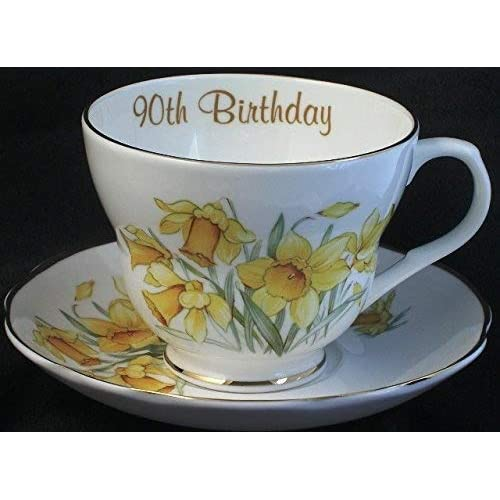 Lyndas Gifts 90th Birthday Gift Bone China Cup And Saucer In The Daffodil Pattern