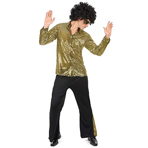 Kostuum voor mannen stijl disco vermomming pailletten jaar 80 L
