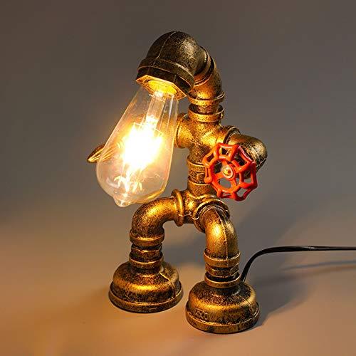 Lámpara de mesa vintage, estilo retro, creativa, industrial, lámpara de mesita de...