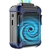 Simpeak Ventilador Portátil, Ventilador De Clip De Cintura Portátil,también Banco de energía portátil de 4000mah Al Aire Libre Mano Ventilador para Trabajo Aire Libre/Hogar/Viaje, Azul