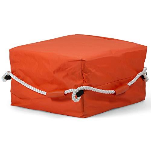 wellenshop Rettungs-Floß Rettungs-Kissen Lalizas mit Rundum-Leine Nylon Orange Rettung Personen 3 4 oder 6 Rettungs-Boje Schwimmkörper Größe 4 Personen