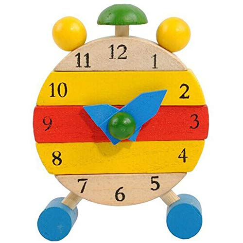 hehuanxiao Horloge 1PC 3.6 * 8.5 * 12cm Hand Made Wooden Clock Toys for Kids Learn Time Clock Educational Toys New Wooden Clock Toys for Kids Learn