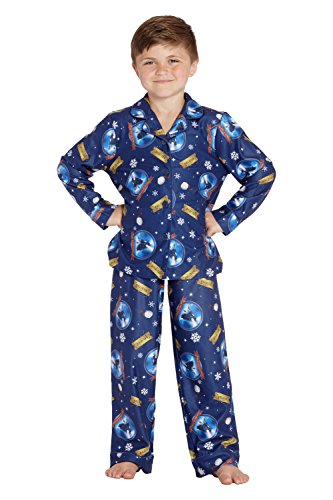 The Polar Express Kids Believe Button-Front Coat Shirt And Pants Pajama Set (8) Blue