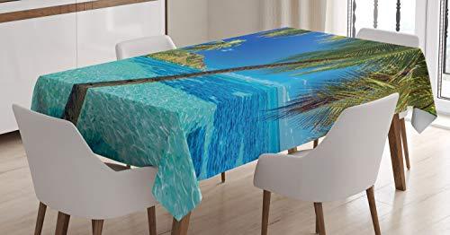 ABAKUHAUS Oceano Mantele, Palm Beach Mar árboles, Resistente al Agua Lavable Colores No Destiñen Personalizado, 140 x 170 cm, Azul Turquesa