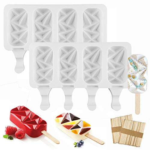 Ice Cream MoldSilicone Popsicle Molds 2 Pieces 4 Cell Ice Pop Mold With 100 Pcs Wood Sticks DIY Ice Cream Dessert Juice Cake Pudding Ice Cube Making Tool Summer Homemade Ice Cream Mold for Kids