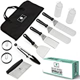 JORDIGAMO Professional Stainless Steel Griddle Cooking Kit - Grill Spatula Tongs Egg Ring Flipper Scraper...
