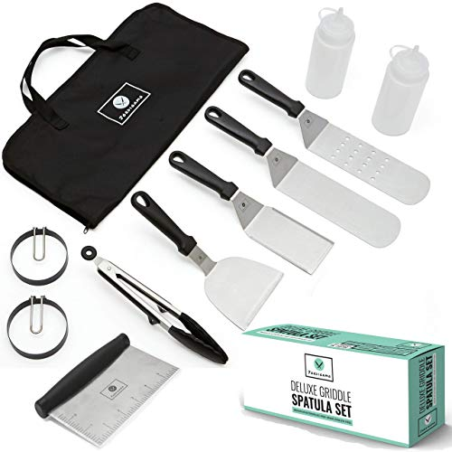 JORDIGAMO Professional Stainless Steel Griddle Cooking Kit - Grill Spatula Tongs Egg Ring Flipper Scraper Carrying Bag - Camping Tailgating Outdoor BBQ - Grilling Hibachi Accessories - Metal Tool Set