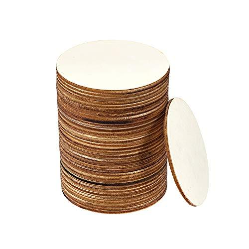 Bestine 50 pièces en Bois Non finies 10cm/4 Pouces tranches de Bois Vierges Simples Naturelles 3 mm d'épaisseur pour Woodcraft, Bricolage, pyrogravure, caboteur (Rond,sans éponge)