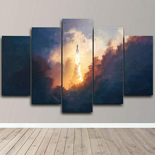 AWER 5 piezas de lienzo de arte de pared,Spaceship Sky Rocket,Cuadro geométrico Abstracto,HD Imagen Impresiones En Lienzo,decoración de Dormitorio,en un Marco