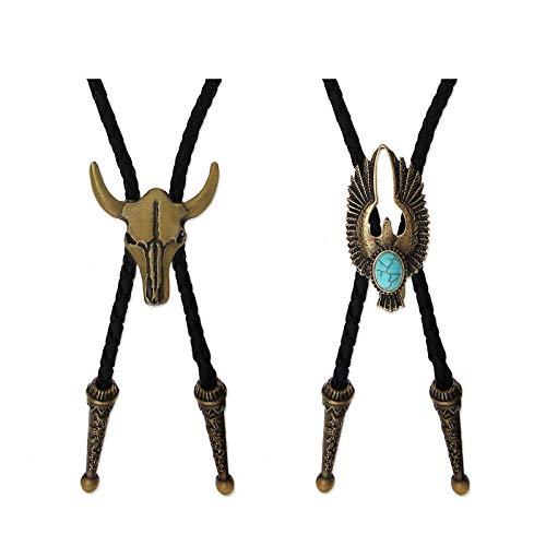 OTOTEC Juego de 2 corbatas Bolo con lazo de vaquero, cuerda de cuero de 99 cm, calavera y águila con incrustaciones de turquesa, diseño occidental de Rodeo, color latón