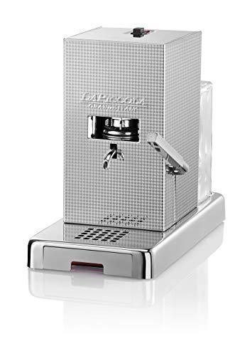 LUCAFFÈ La Piccola Perla Kaffeemaschine für Kaffeepads E.S.E. Maße 28x16x31 Kaffeemaschine Papierkapseln, Silber, geringer Verbrauch, hohe Qualität, Made in Italy + 300 Kapseln 44 mm Lucaffè