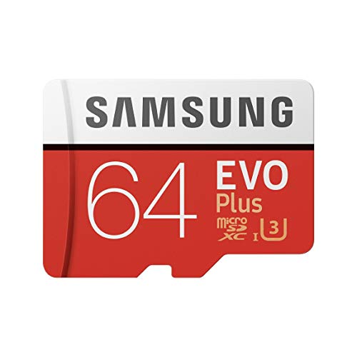 Samsung EVO Plus 64 GB microSDXC UHS-I U3 Memory Card with Adapter, Red/White