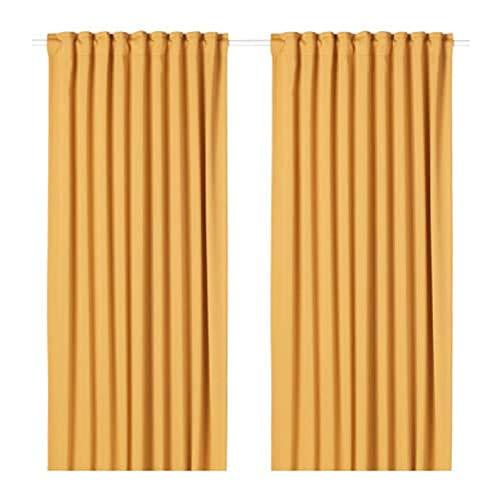 IKEA Majgull Blackout Curtains 1 Pair Yellow 904.177.87 Size 57x98