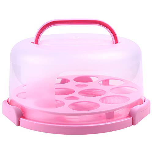 Cake Carrier with Handle, Ohuhu Cake Container, Cupcake Holder, Portable Round Cake Holder, Two Sided Base for Pies, Cookies, Nuts, Fruit etc, Suitable for 10 inch Cake, Pink