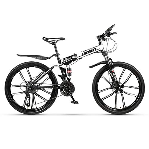 Gq2019 Folding Mountain Bike for Adults,Men's Hardtail Mountain Bike 24/26 Inch Mountain Bikes with High-Carbon Steel Frame (Color : 21-Stage Shift, Size : 24inches)