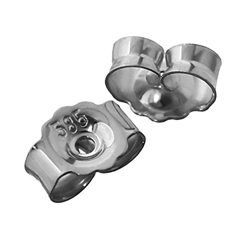 NKlaus 1 Paar 585 Weißgold 14 Karat Gold 5,2mm Gegenstecker für Ohrstecker Ohrringe Ohrstopper Pousetten Ohrmutter Butterfly Schmetterling Verschluss Loch: 0,8mm 4823