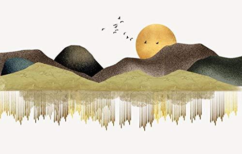 Fotomurales 3D Papel Pintado Pared Paisaje De Pico De Montaña De Bloque De Color Abstracto Papel Pintado Fotográfico Mural Salón Dormitorio Decoración de Paredes Wallpaper 300cmx210cm