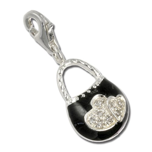 SilberDream Charm–Charm Borsa a mano nero in argento per Charms Collane Bracciali Orecchini–Argento 925Sterling–fc3030s