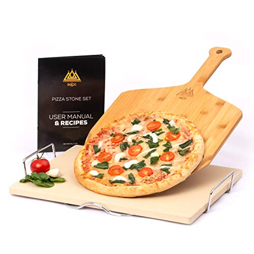 BKC Pizza Stone for Oven or BBQ | Large Baking Stone with Wooden Paddle and Server Rack | Pizza Recipe Book | Quality Gift Box Perfect for Xmas | Italian Homemade Pizza Baking