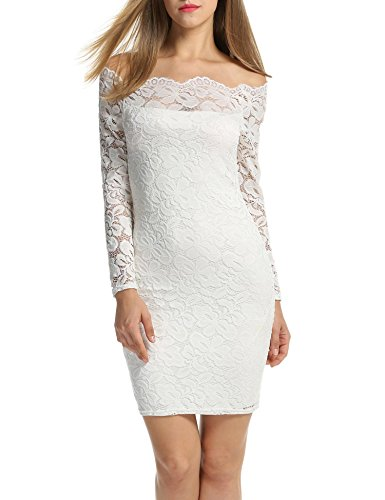 ACEVOG Women's Off Shoulder Lace Dress Long Sleeve Bodycon Cocktail Party Wedding Dresses White XL