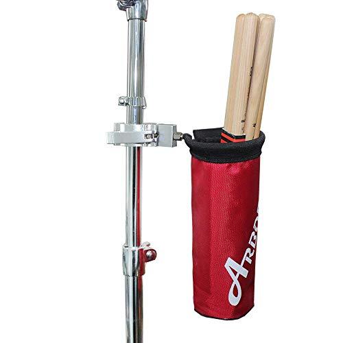 Arborea ドラムスティック ホルダー ドラムスティック バッグ 12ペア収納可能 ナイロン素材 アルミニウム合金 (レッド)