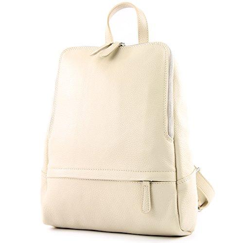 modamoda de - T138 - ital Damen Rucksacktasche aus Leder, Farbe:Creme