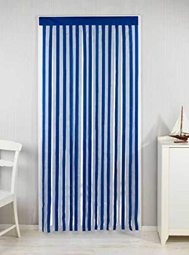 WENKO Türvorhang Blau-Weiß - Streifenvorhang, Insektenschutz-Vorhang, Polyester, 90 x 200 cm, Blau