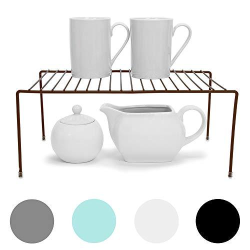 Smart Design Cabinet Storage Shelf Rack - Medium (8.5 x 13.25 Inch) - Steel Metal Wire - Cupboard, Plate, Dish, Counter & Pantry Organizer Organization - Kitchen [Bronze]