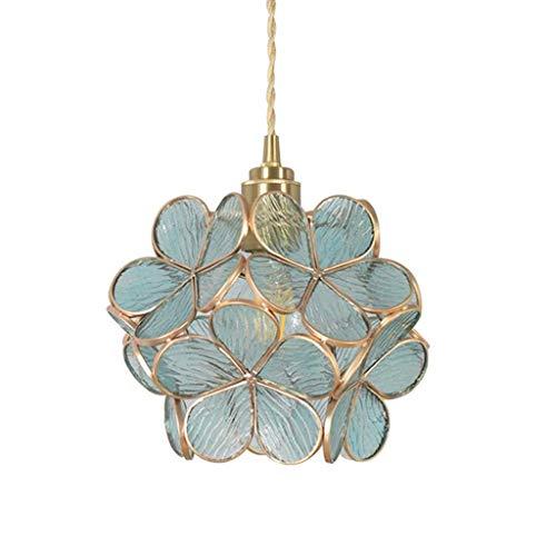 JIAODIE Hängelampe Kreative Glas Blume Pendelleuchte E27 Tiffany Stil Blütenblatt Hängeleuchte Messing Dekorative Kronleuchter Restaurant Lampe Schlafzimmer Deckenleuchte 20X18cm,Blau