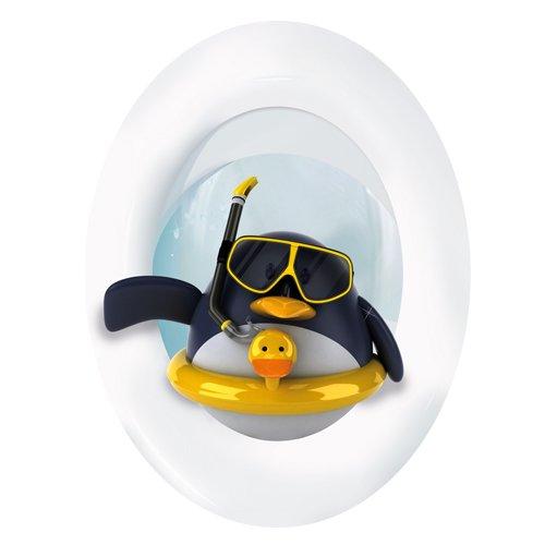 Wandkings Pinguin mit Rettungsring, WC Deckel Aufkleber Sticker, 30 x 40 cm