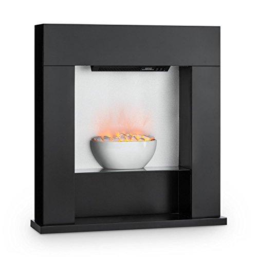 Klarstein Studio 8 Chimenea eléctrica - Calefactor de Pared, 1000 y 2000 W, Calentador con Ventilador, Efecto Llama Independiente, hasta 40m², Negra