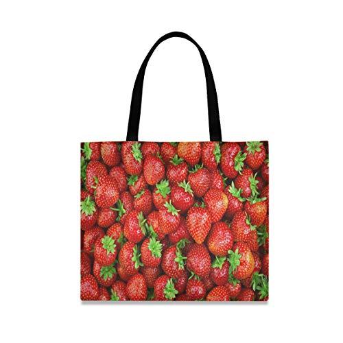 ALARGE Bolso de lona con estampado de fresas de frutas, grande, informal, para ir de compras, con asas de longitud para mujeres y niñas