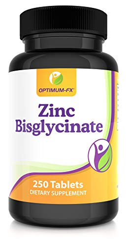 Zinc Bisglycinate Tablets High Strength 25mg Not Capsules 1 Per Day Supplement Over 8 Months Supply 250 Tablets