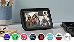 """Alexa can show you even more: 8"""" HD touchscreen, adaptive colour and stereo speakers bring entertainment to life. Make video calls with a 13 MP camera that uses auto-framing to keep you centred. Stay in frame: make video calls with a new camera that ..."""