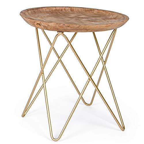Bizzotto tavolino da salotto basso moderno 50 cm piano legno naturale gambe in acciaio Zahira Oro