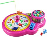 Luxula 25 pcs Fishes Rotating Fish Catching Musical Game with 4 Rods