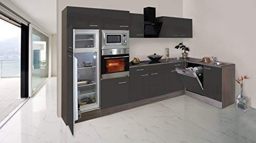 respekta Economy L-Form Winkel Küche Küchenzeile Eiche York Grau 340x172cm