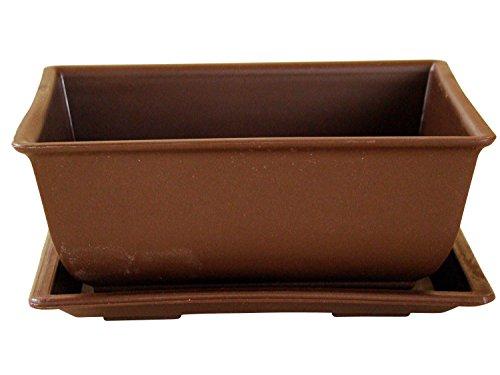 Bonsaischale aus Kunststoff mit dunkelbraunen Untersetzer Länge: 14,5cm - Breite: 10,5cm - Höhe: 7cm eckige Form