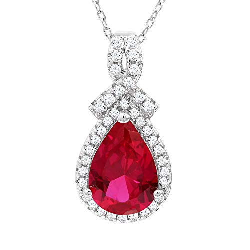 Lab Created Ruby Necklace in Sterling Silver with Lab Created White Sapphire Halo - 7 x 10 MM Pear Shape Created Ruby - 18 Inch Cable Chain