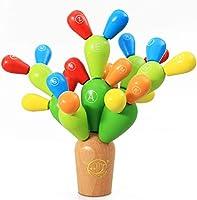 【Materiale】 È realizzato in legno naturale e vernice di protezione ambientale. Gioco di cactus di alta qualità e colore più sicuro. 【Blocchi di legno creativi colorati】 Base di cactus, tre diverse dimensioni di cactus, ciascuno, verde, verde chiaro, ...