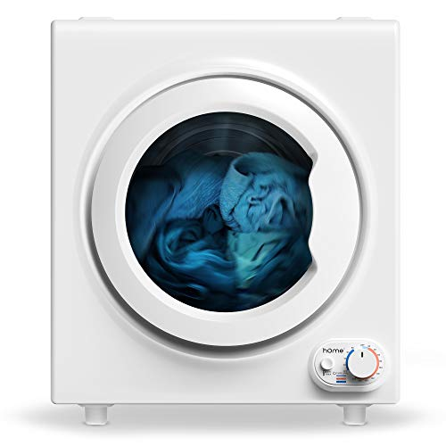 hOmeLabs 2.6 Cubic Feet Compact Laundry Dryer - Front Load Portable Clothes Dryer with Stainless Steel Tub Integrated Viewing Window and Control Panel Downside - 1400W Drying Power for Apartments